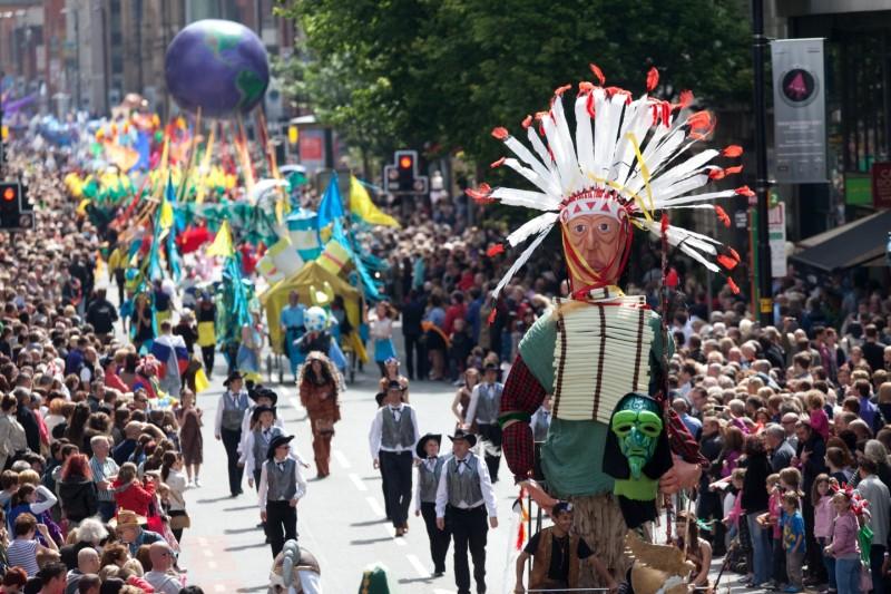 Parade float at manchester day parade