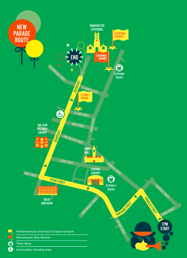 Manchester Day Parade Route 2019