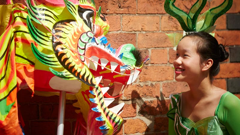 Manchester day 2015 parade float chinese dragon
