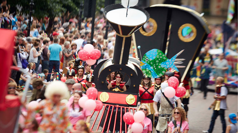 Manchester day 2015 parade float trains