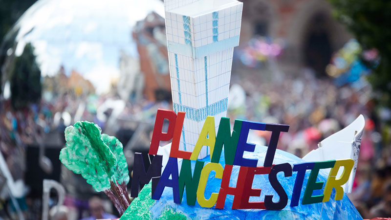 Manchester day 2015 parade float planet manchester