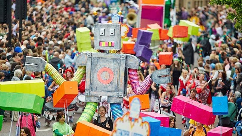 Manchester Day event parade float robot